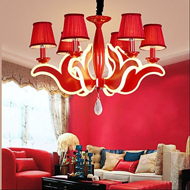 Creative Garden Living Room Lights Red Acrylic Chandelier