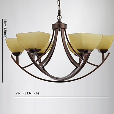 Chandeliers 6 Lights Traditional/Classic / Vintage Living Room / Bedroom / Study Room/Office Metal
