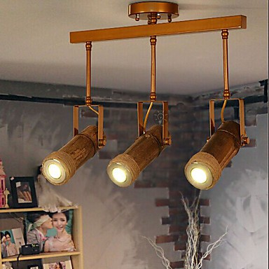 American Country Hemp Bamboo Coffee Personality Hall Ceiling lamps 3