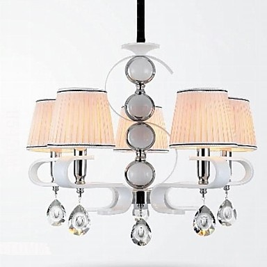 Fabric Chandelier 5 Light High-Grade Lamp White Jade Silver Ring