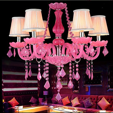 Coffee Room lamp Project Light Candle Crystal Hanging Lamp Pink A