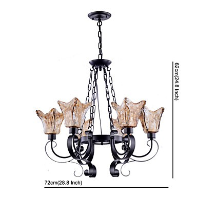 Chandeliers 6 Lights Glass Traditional/Classic / Vintage Living Room / Bedroom / Study Room