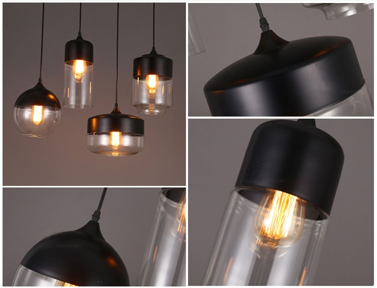 E27 15-20㎡ Line 1M The Nordic Ikea Creative Stair Shop'S Art Personality Wrought Iron Glass Chandelier LED Lamp