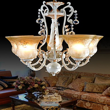 White Chandeliers Five-Lights Pattern-Glass-Shade Hand-Gilt European Retro Classic 220V