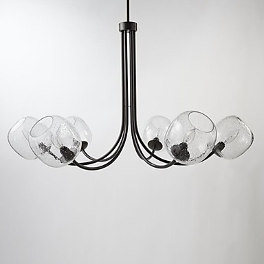 60W Traditional Chandelier with 6 Lights and Glass-Bubble Shade
