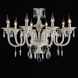 8-Light The style of palace Glass Chandelier With Candle Bulb