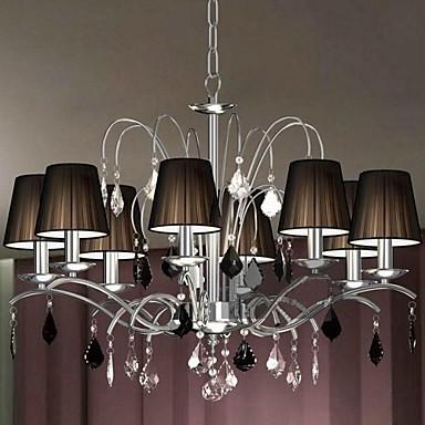 Cloth Lamp Shade Crystal Chandelier 8 Lights