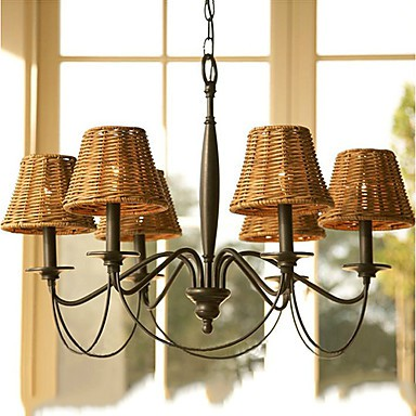 Max 60W Rustic/Lodge Electroplated Chandeliers Living Room / Bedroom / Dining Room / Study Room/Office / Hallway