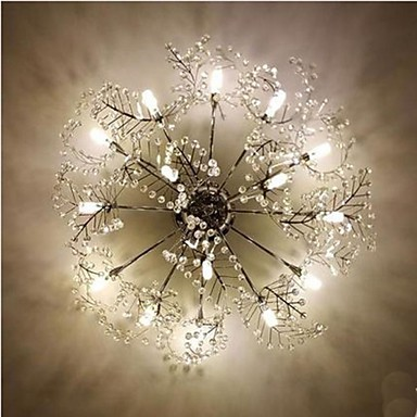Stainless Steel Etched Deciduous Crystal LED Ceiling Llight
