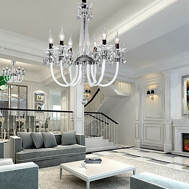 American-Style Lodge 6 Light Chandelier With Glass Shade