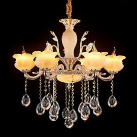 Jade Crystal Pendant lamp Villa Hotel Candle Style Chandeliers