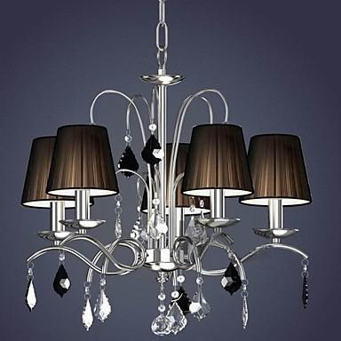 Cloth Lamp Shade Crystal Chandelier 5 Lights