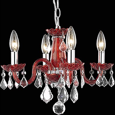 Candle Featured Crystal Chandeliers with 4 Lights in Red