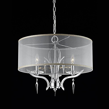 60W Crystal Modern Pendant with 3 Lights and Semitransparent PVC Shade