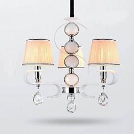 Fabric Chandelier 3 Light High-Grade Lamp White Jade Silver Ring