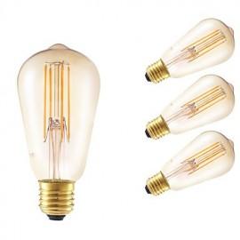 4W E27 LED Filament Bulbs ST58LF 4 COB 350 lm Amber Dimmable / Decorative AC 220-240 V 4 pcs