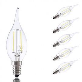 2W E14 LED Filament Bulbs B35L 2 COB 250 lm Warm White / Cool White AC 220-240 V 6 pcs