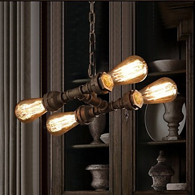 4 Light American Industrial Water Pipe, Retro style, Wind, Bar, Bar
