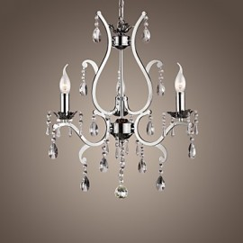 Crystal Chandelier with 3 Lights in Metal