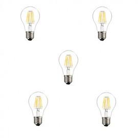 5pcs A60 6W E27 600LM 360 Degree Warm/Cool White Color Edison Filament Light LED Filament Lamp (AC85-265V)