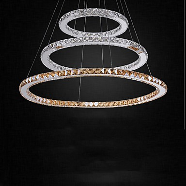 LED Pendant Lamps Amber and Clear K9 Crystal Chandelier Lights Lighting with 3 Ring CE&UL&FCC