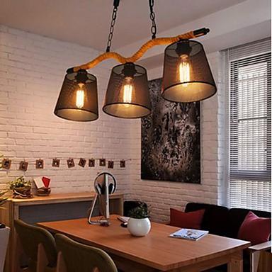 Retro Creative Personality Coffee Hall Three Pastoral Restaurant Bar head Rope Chandelier