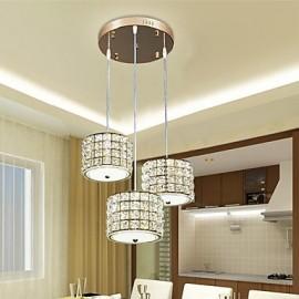 Single 3 Light 24W Dining Room LED Crystal Pendant Light LED Restaurant Droplight