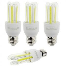 4PCS E27 7W 600lm 6000K 6-COB LED White Light Corn Lamp(AC85-265V)