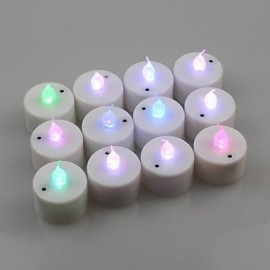 12pcs Color Changing Sound Control LED Battery Operated Tea Lights for Wendding Party(DC4.5V)