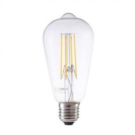 6W E27 LED Filament Bulbs ST58LF 4 COB 600 lm Warm White Dimmable / Decorative AC 220-240 V 1 pcs