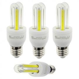 4PCS E27 3W 210lm 6000K 4-COB LED White Light Corn Lamp(AC85-265V)