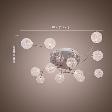 20W G4 12-light Iron Flush Mount Light with Aluminum Shades