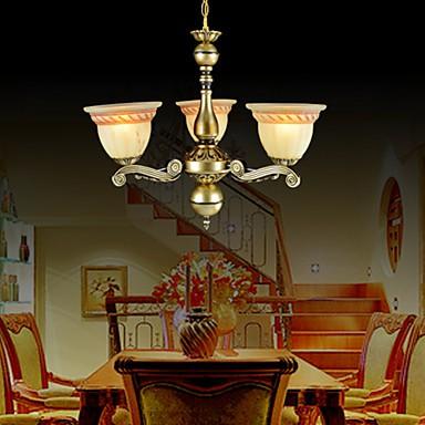 Chandeliers Three Lights 220V Bronze European Retro Classic