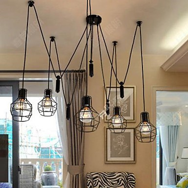 Dining-Room Sitting Room Chandelier American Country Lamps And Lanterns Lift Tiny Cages Droplight