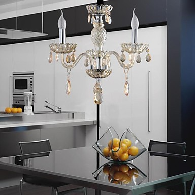 3-Light The style of palace Glass Chandelier With Candle Bulb