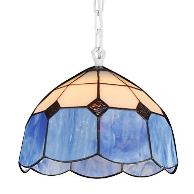 Chandeliers Mini Style Tiffany/Country Dining Room/Garage white + blue Glass lights