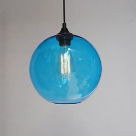 Modern Glass Pendant in Round blue Bubble Design