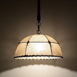 Half Round-shaped/1 Lights/Pendant Lamps/Vintage Style/Industry Style/Yellow/Cloth & Metals Drop Light