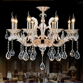 European Style luxury Candle Crystal Pendant living Room Bedroom Dining Room Zinc Alloy lamps 8
