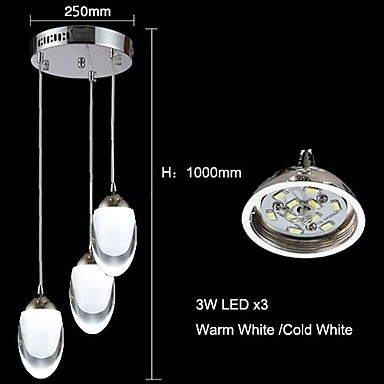 3 Modern/Contemporary / Traditional/Classic / Country LED Chrome Glass Chandeliers / Pendant Lights