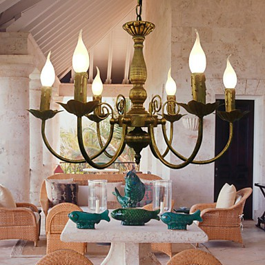 Max 40W Electroplated Metal Chandeliers Living Room / Bedroom / Dining Room