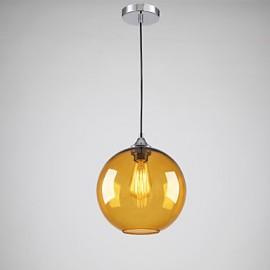 Modern Glass Pendant Light in Round amber Bubble Design
