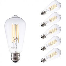 6W E27 LED Filament Bulbs ST58LF 4 COB 600 lm Warm White Dimmable / Decorative AC 220-240 V 6 pcs