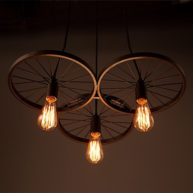 Loft Retro Restaurant Bar Pendant Lamps American country wrought iron chandeliers industrial style wheels
