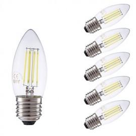 3.5W E27 LED Filament Bulbs B35 4 COB 350/400 lm Warm White / Cool White Dimmable AC 220-240 V 6 pcs