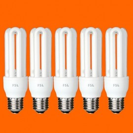 5 pcs E26/E27 T3 3U 11W 580LM 6500K Cool White Light CFL Bulbs (AC220V)