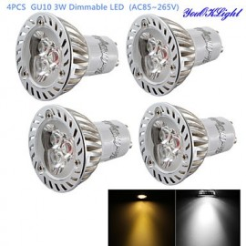 4PCS Dimmable GU10 3W 200LM 3000/6000K White/ Warm White 3-LED Spot Light Bulb - Silver + White (AC85~265V)