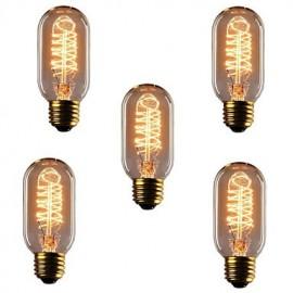 5pcs T45 E27 40W Incandescent Light Bulbs Antique Vintage Retro Edison Light Bulbs(220-240V)