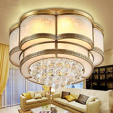 27 Traditional/Classic / Rustic/Lodge Crystal Brass Metal Flush Mount Living Room / Bedroom / Dining Room