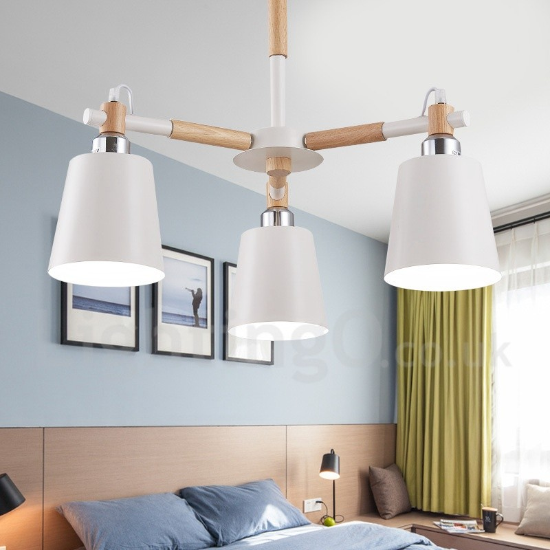 Wood Chandeliers For Dining Room: 3 Light Modern/ Contemporary Wood LED Chandelier For